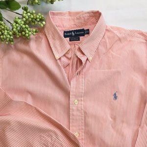 Ralph Lauren Polo Pink White Striped Oxford Shirt